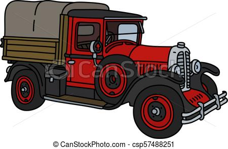 The vintage red truck.