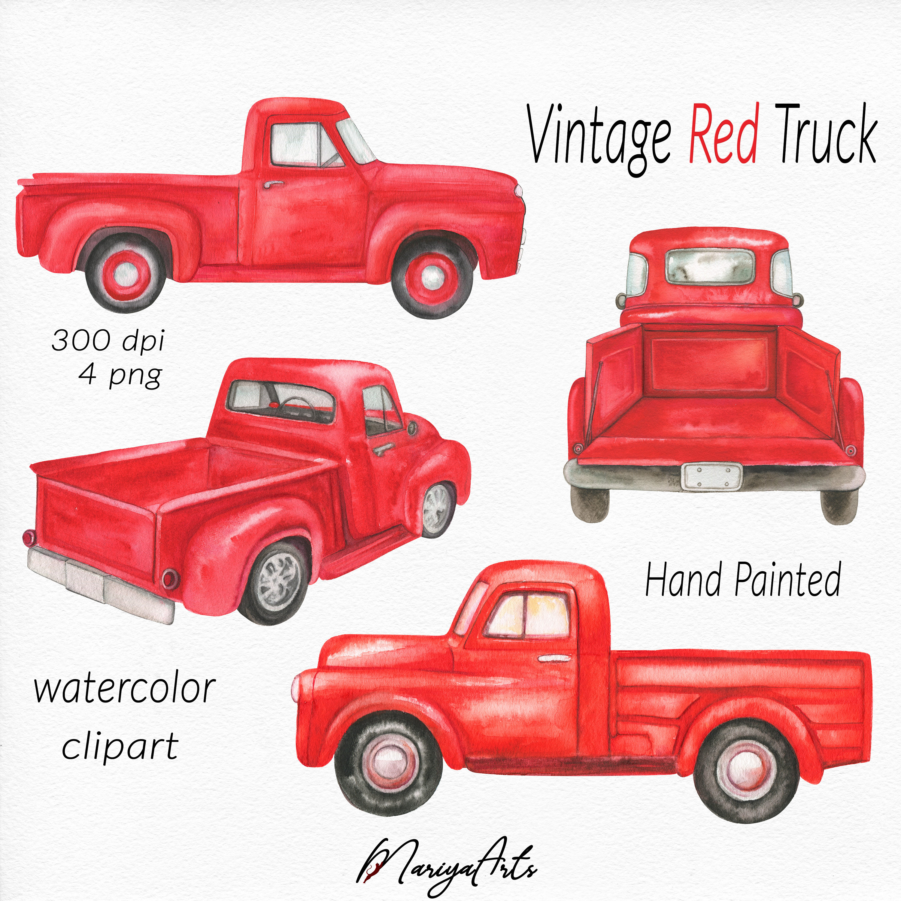 Red Truck Clipart, Vintage Retro Watercolor Red Trucks, Hand Painted Clip  Art, Farm Classic Pick up Truck, Farmer's Pickup, Commercial Use.