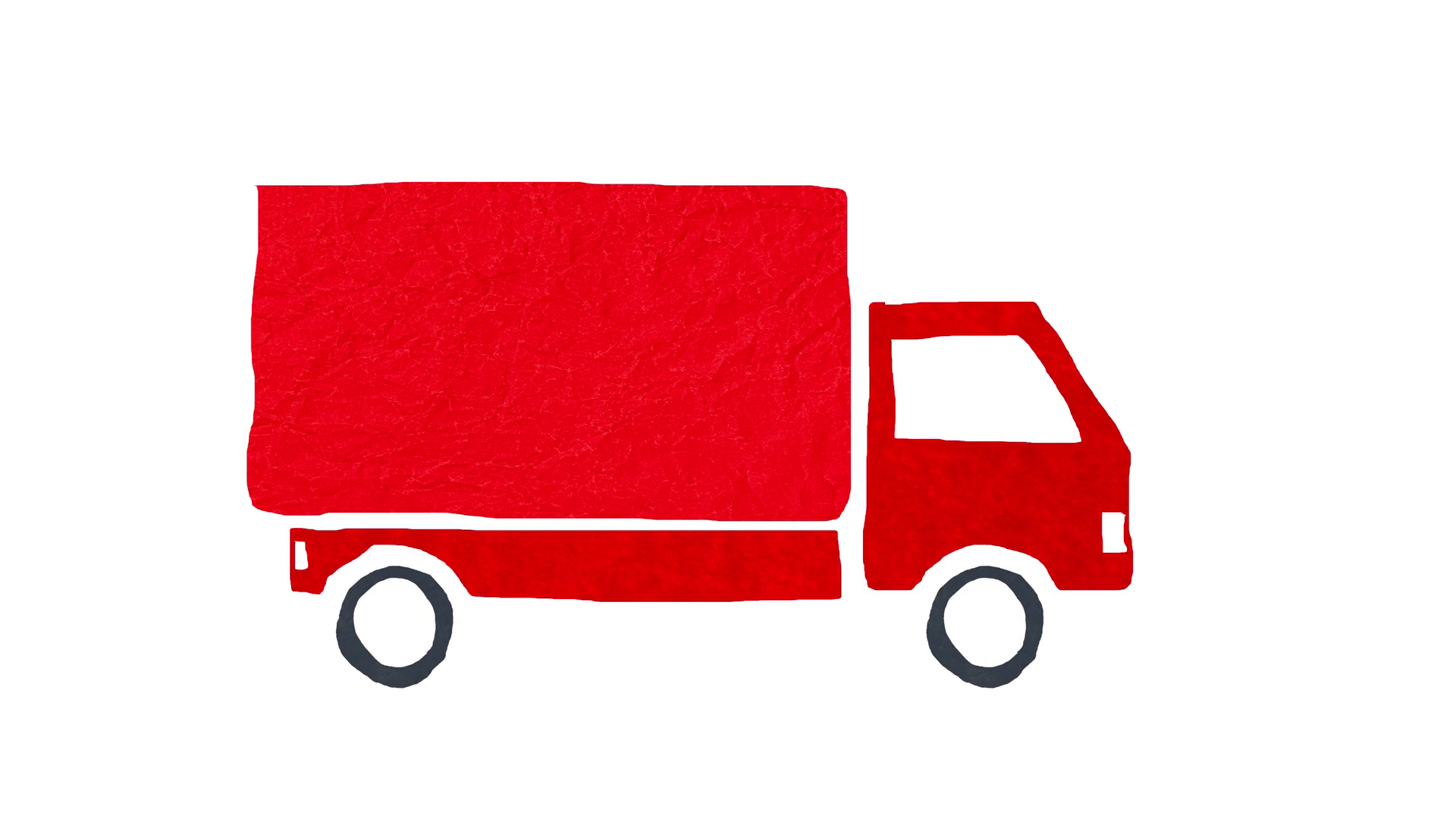 4K Red Truck Animation Stop Motion on White Background Cartoon Paper Craft  Motion Background.