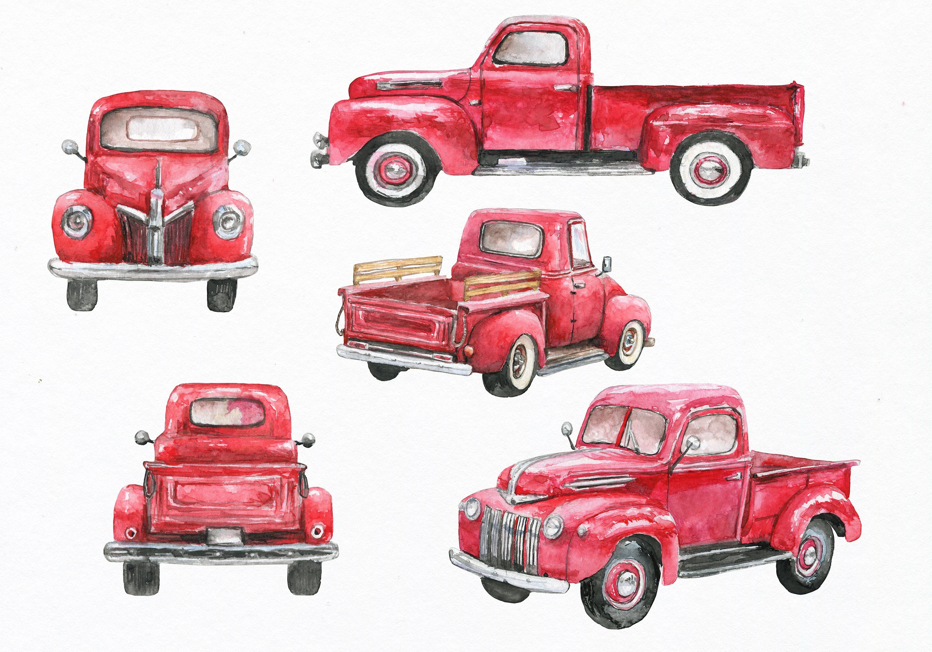 Red truck clipart. Watercolor by EphrazyDesign on @creativemarket.