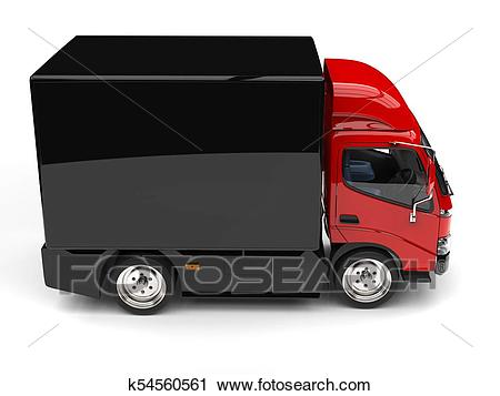 Red box truck with black trailer.
