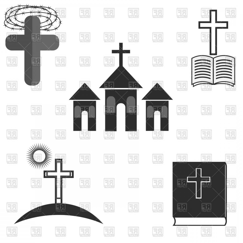 Symbols Of Christianity Catholic Religion Church Cross And Bible.
