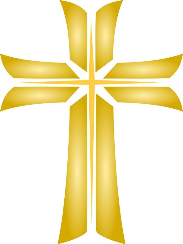 Golden Cross Christian Religious Symbol.