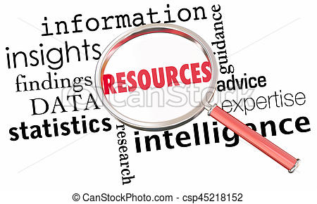 Resources Information Data Insights Facts Magnifying Glass Word Collage 3d  Illustration.