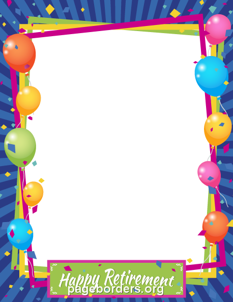 Happy Retirement Border: Clip Art, Page Border, and Vector Graphics.