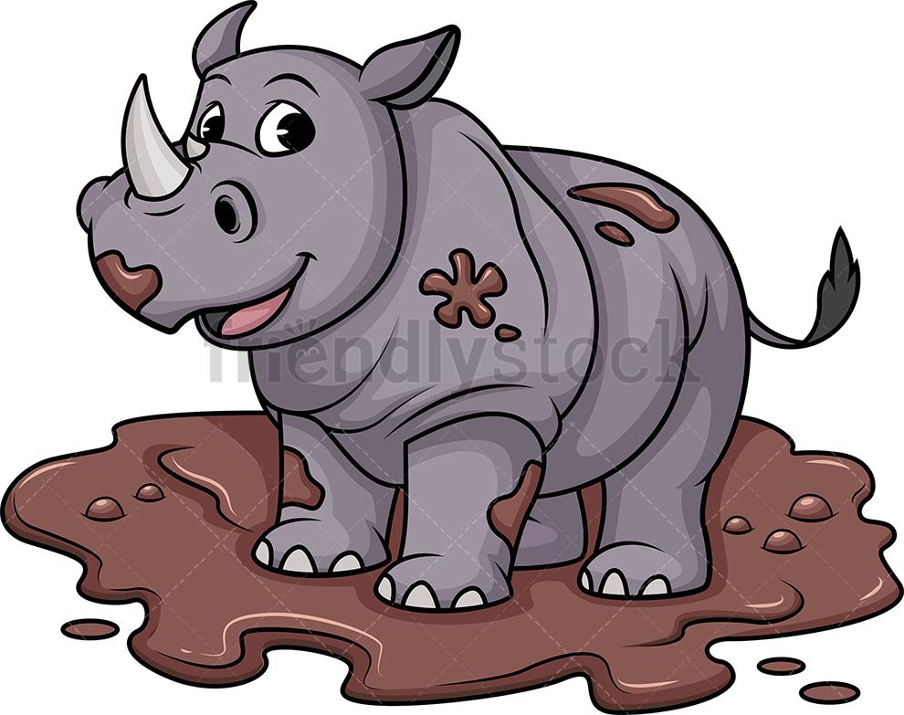 Dirty Rhino In Mud.