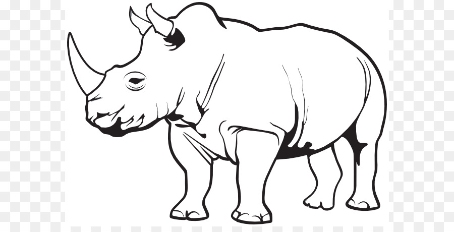 Rhinoceros Line Art png download.