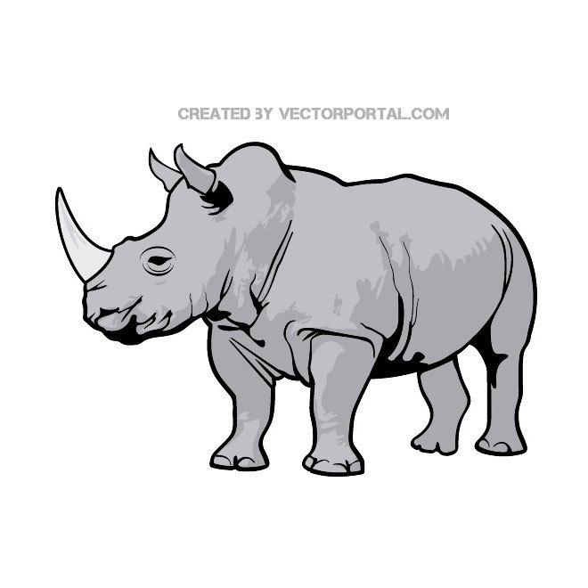 Rhino Clip Art Free Vector.