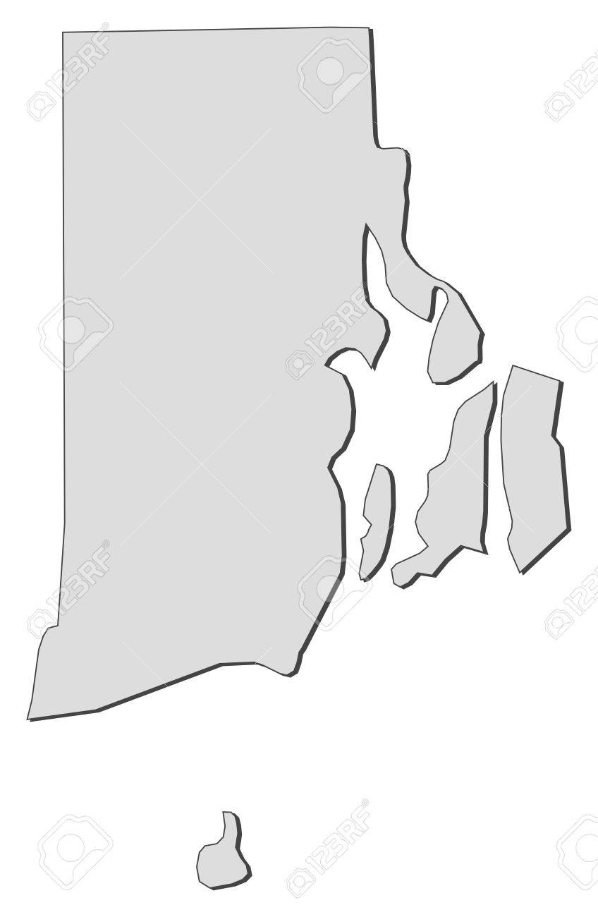 Map of Rhode Island, a state of United States..