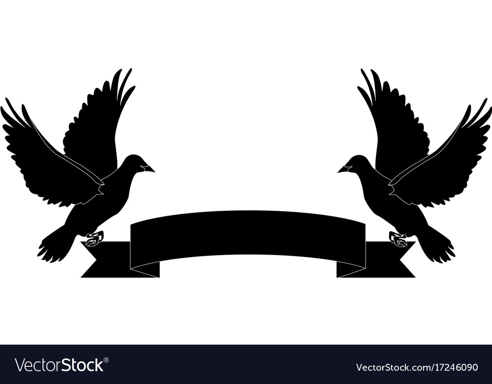 Two doves holding a banner ribbons clip art.