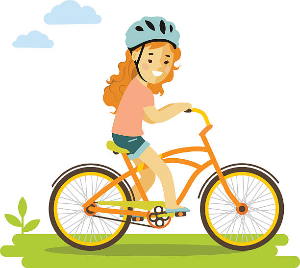Best Girl Riding Bike Illustrations, Royalty.