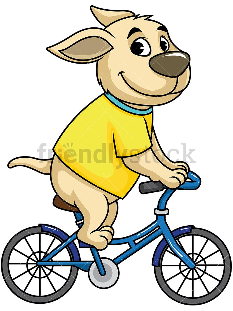Dog Mascot Character Riding Bicycle.