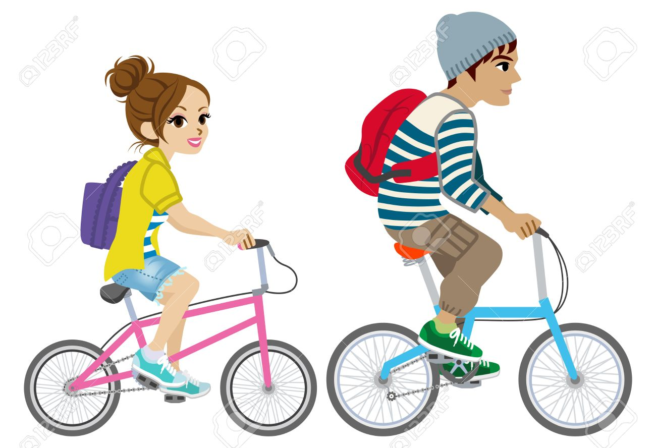Young couple riding Bicycle, Isolated.