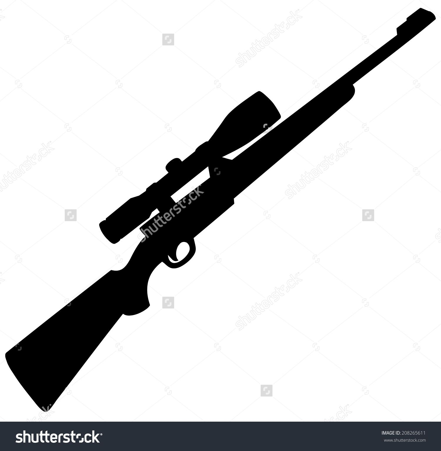 Hunting Rifle Silhouette Stock Vector Illustration 208265611.