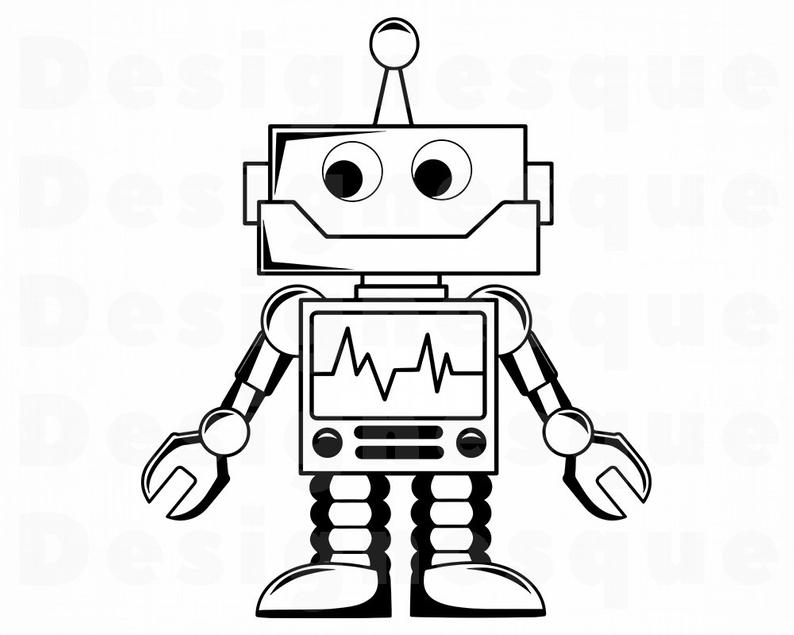 Robot Outline SVG, Robot SVG, Alien Svg, Robot Clipart, Robot Files for  Cricut, Robot Cut Files For Silhouette, Robot Dxf, Png, Eps, Vector.