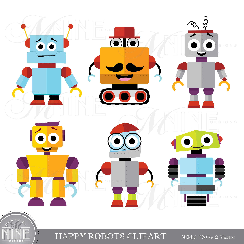 HAPPY ROBOTS Clip Art / Cute Robot Clipart Downloads / Robot Party, Cute  Robots Theme, Robot Scrapbook Clipart, Vector Robots.