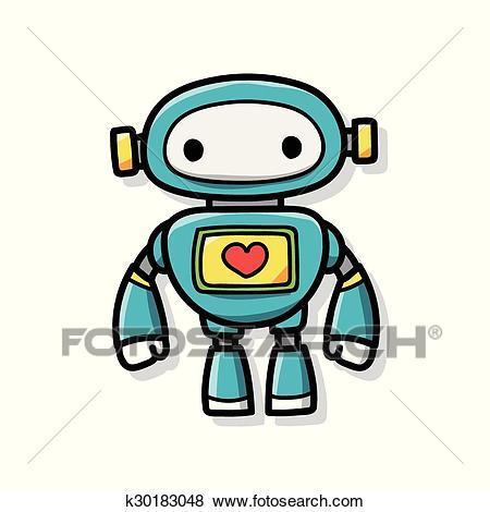 Robot doodle Clip Art.