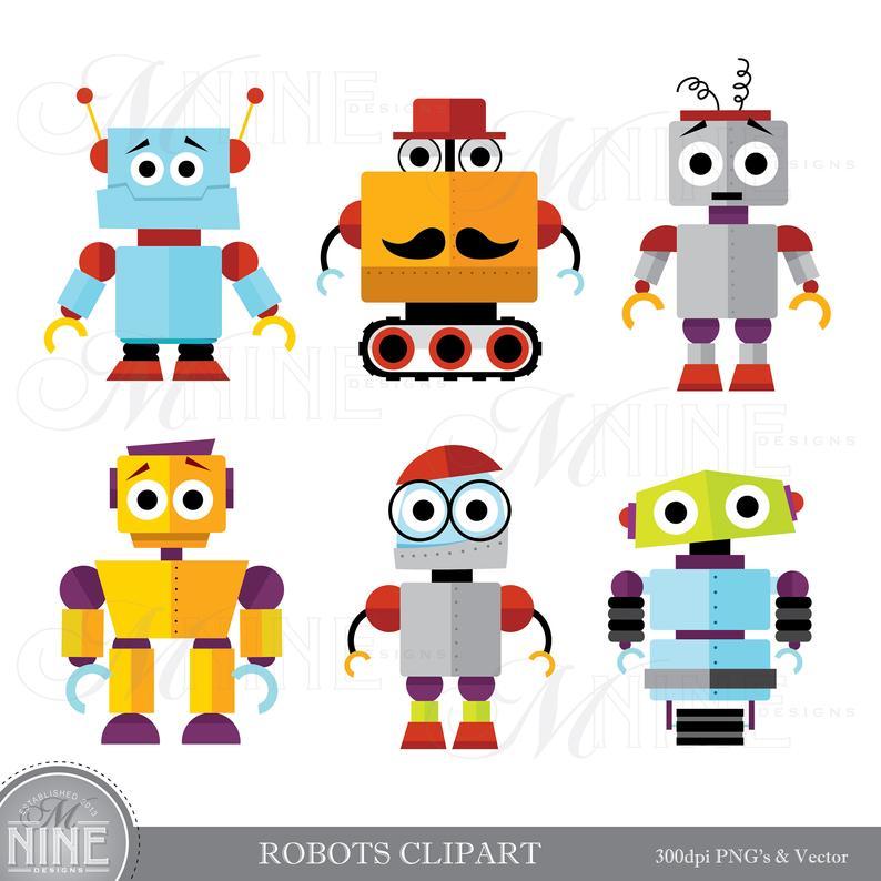 ROBOTS Clip Art / Robot Clipart Downloads / Robot Party, Cute Robots Theme,  Robot Scrapbook Clipart, Vector Robots.