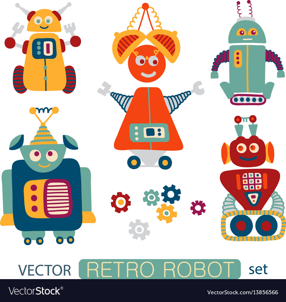 Colorful clipart set with retro robots.