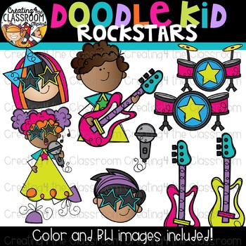 Doodle Kid Rockstars Clip Art {Rockstar Clipart}.