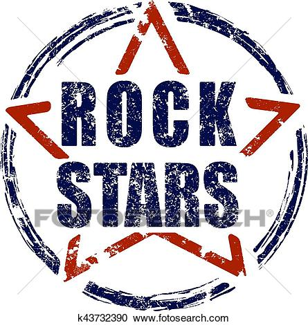 Rock stars blue and red rubber stamp grunge design. Clipart.