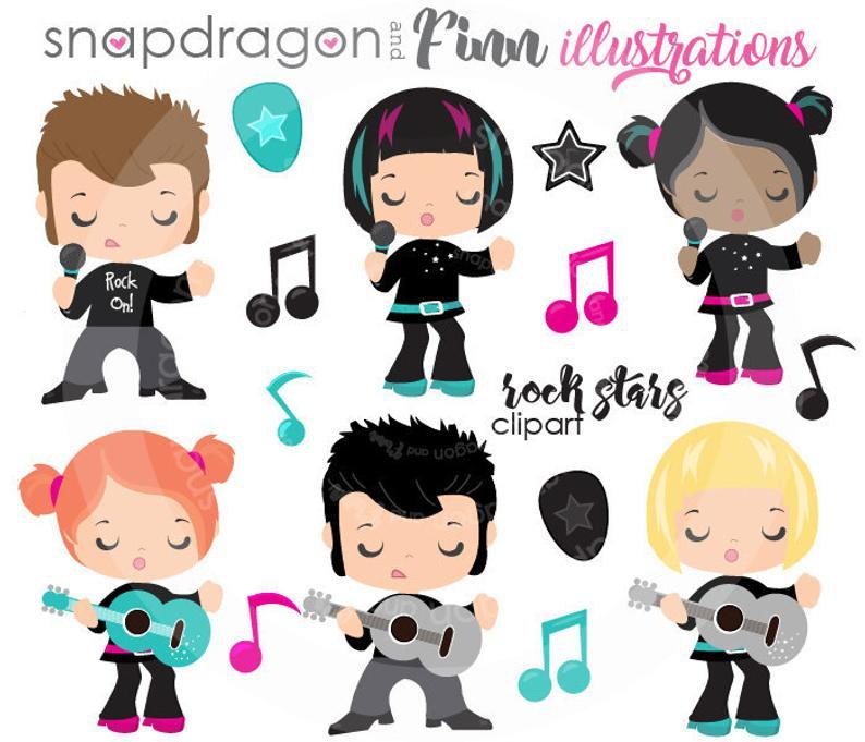 BUY5GET5 Rock Stars Clip art, Karaoke clip art, Music clip art, singing  girl image, singing boy image, vector images,.