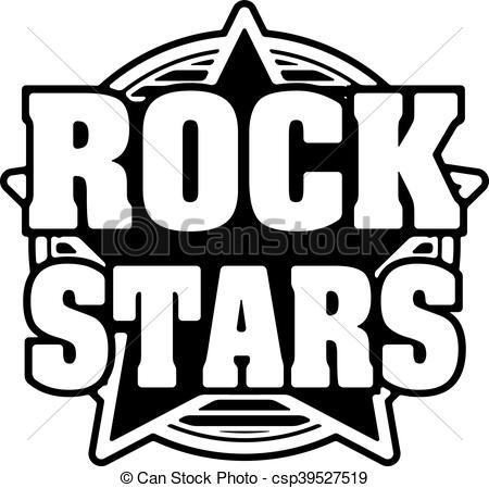 Rock stars black and white vector design..