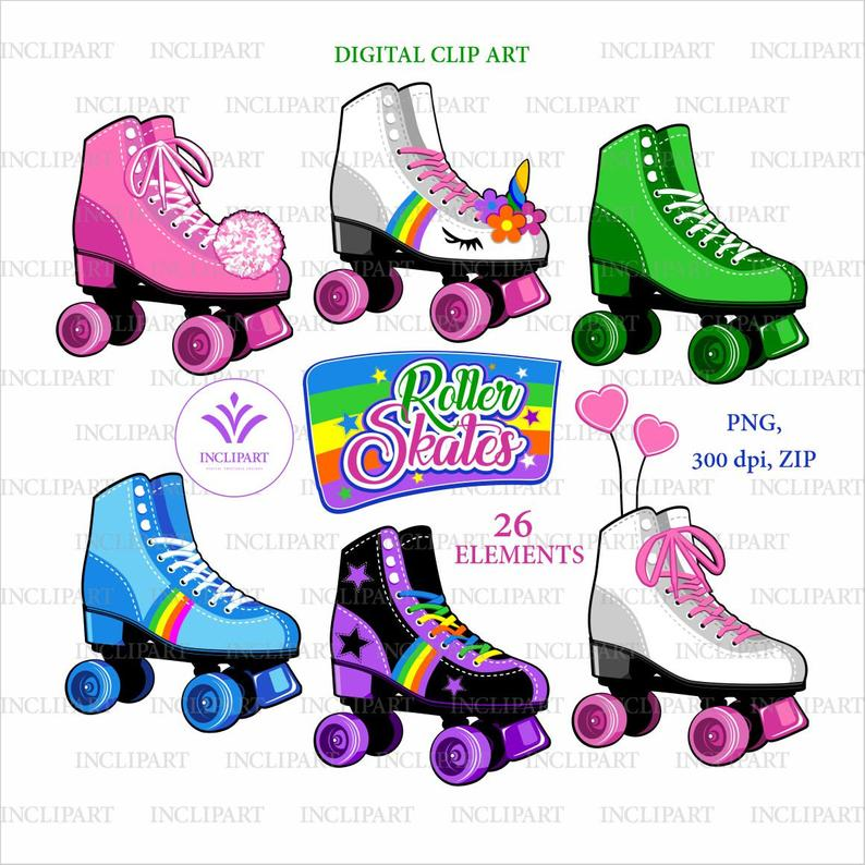 Roller skates clipart. Party clipart. Colorful Roller skate PNG. Girls  Roller skate clipart. Printable Commercial use Digital download files.