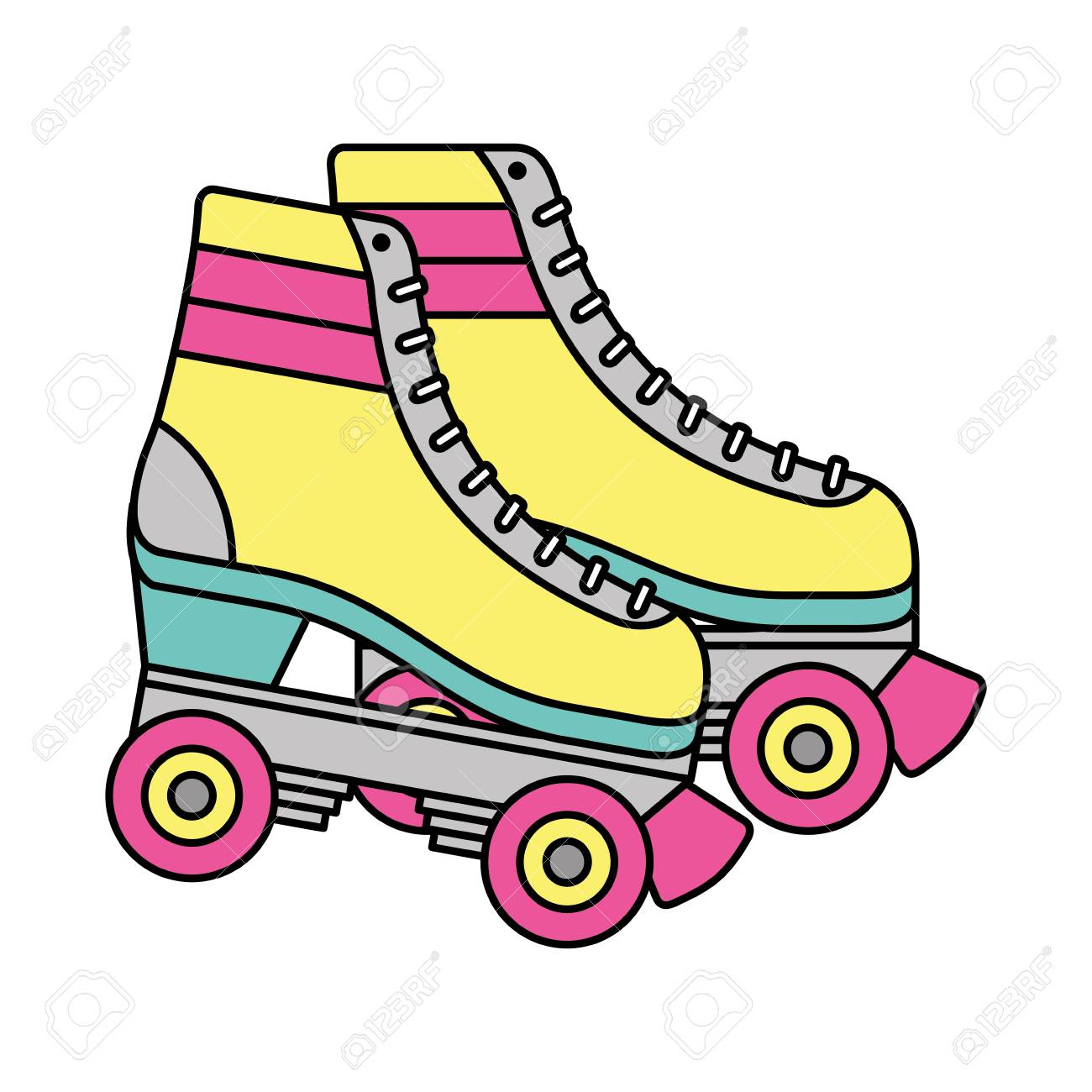 Retro roller skates wheels trendy vintage vector illustration.