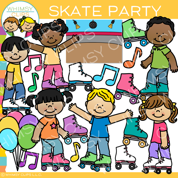 Skate Party Clip Art.