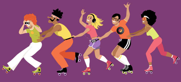 Best Roller Skating Party Illustrations, Royalty.