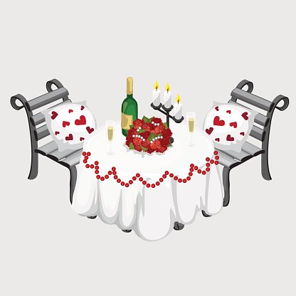 Romantic Dinner, Champagne, Flowers and Candles premium clipart.