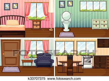 Four scenes of rooms in the house Clipart.