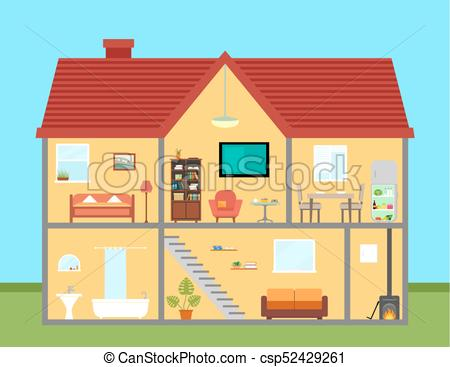 furniture on house in cut with furnishing rooms detailed.