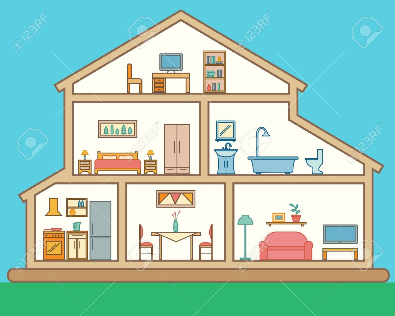 For Interior Of A House Clipart 42448512 In Cut Detailed Modern.
