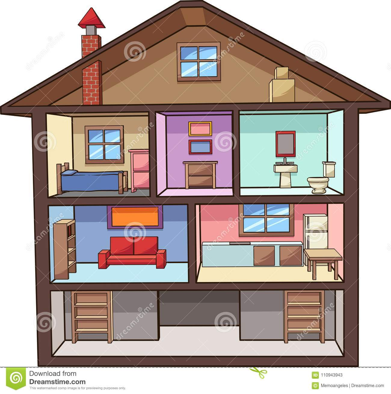Cartoon House Interior With Rooms Stock Vector.