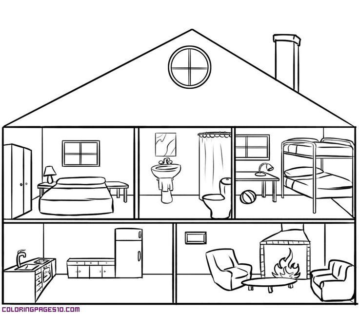 House black and white rooms of the house clipart.