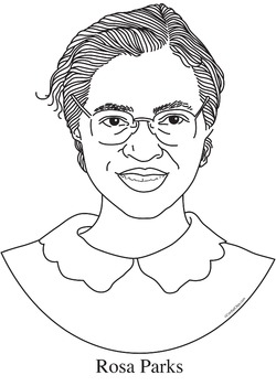 Rosa Parks Realistic Clip Art, Coloring Page and Poster.