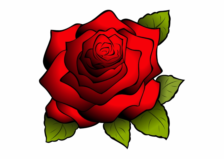 Red Flower Clipart Red Rose Outline.