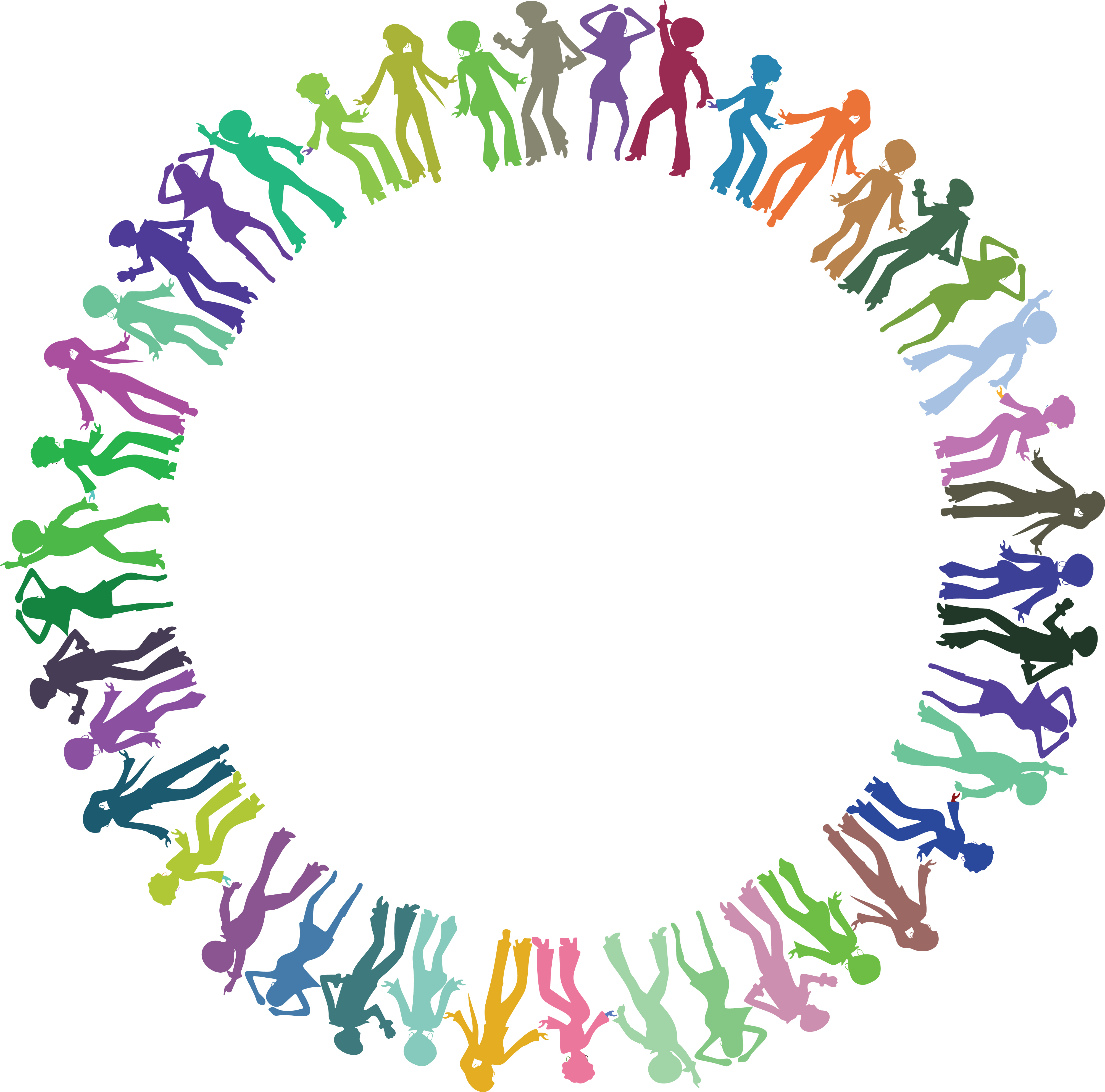 Free Clipart of a round border frame of colorful disco dancers.