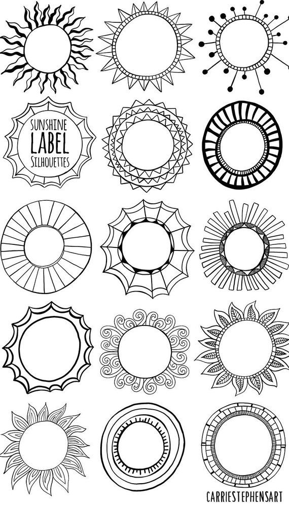 Sunshine Labels, Circle Border Clipart, Round Border Graphics.