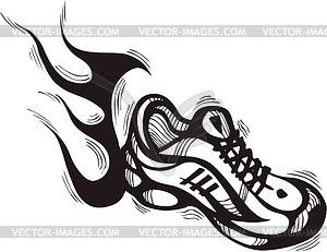 Running Shoes Clipart Black.