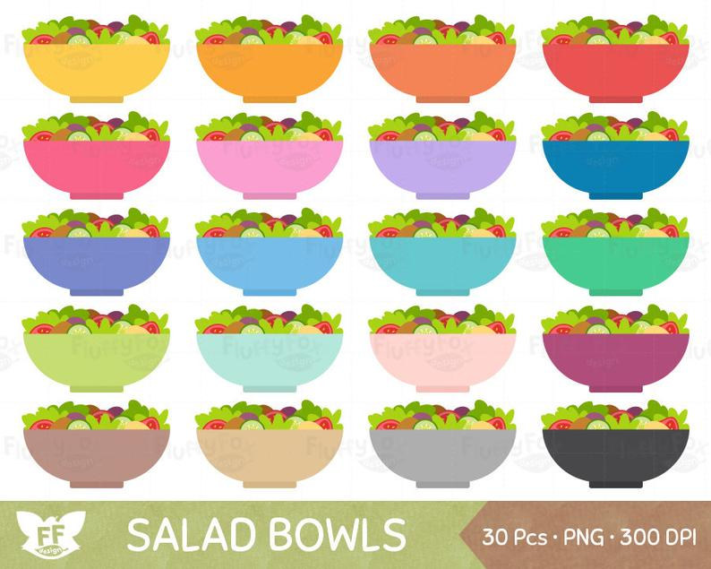 Salad Bowl Clipart, Salads Clip Art, Food Meal Diet Bowls Plate Healthy  Vegetable Green Fresh Vegan, PNG Digital Graphic, Commercial Use.
