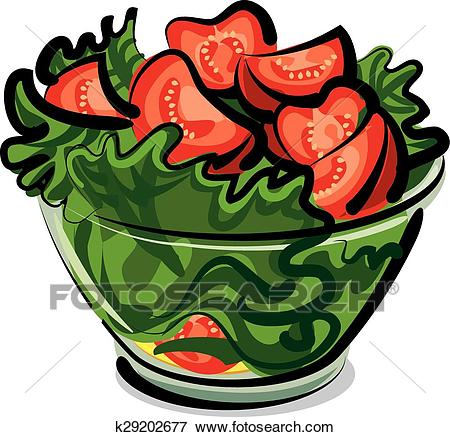 Salad with tomatoes Clip Art.