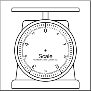 Clip Art: Weights and Measures: Pound Blank Scale B&W I abcteach.com.