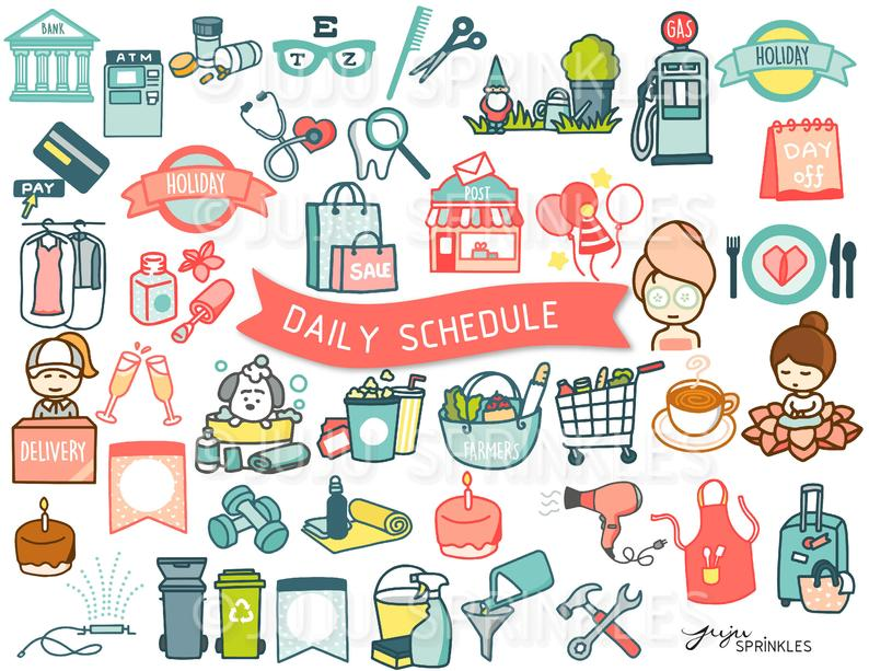 Digital Clipart, Daily Clipart, Planner Clipart, Schedule Clipart, Journal  Icons, Planner Icons, Everyday Clipart, Instant Download PNG.