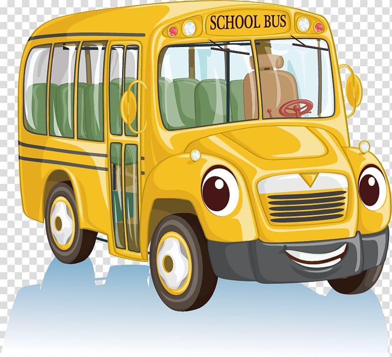 School bus Cartoon , School bus material transparent background PNG.