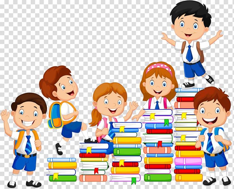 Six children with books illustration, Book , school kids transparent.