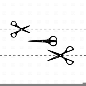 Free Clipart Scissors Cutting Dotted Line.