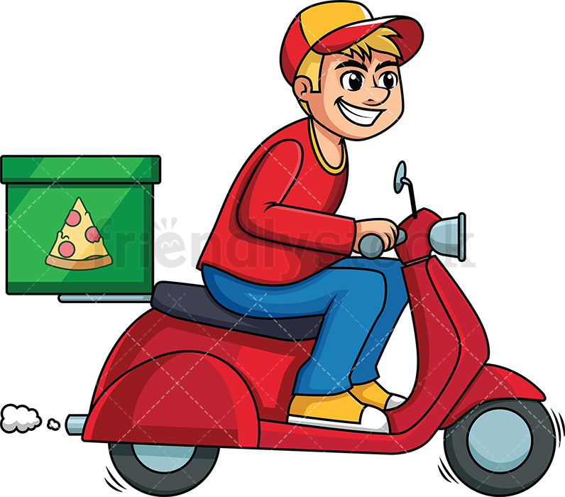 Pizza Delivery Man Driving A Scooter.